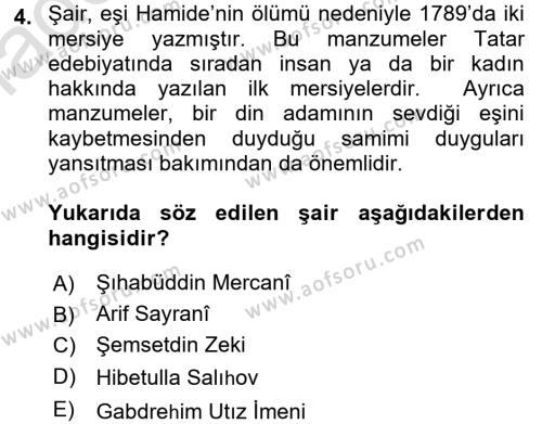 Çağdaş Türk Edebiyatları 1 Dersi 2017 - 2018 Yılı (Vize) Ara Sınav Soruları 4. Soru