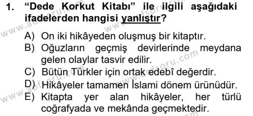 Çağdaş Türk Edebiyatları 2 Dersi 2012 - 2013 Yılı (Final) Dönem Sonu Sınav Soruları 1. Soru