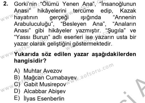 Çağdaş Türk Edebiyatları 2 Dersi 2012 - 2013 Yılı (Final) Dönem Sonu Sınav Soruları 2. Soru