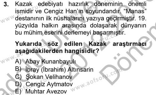 Çağdaş Türk Edebiyatları 2 Dersi 2012 - 2013 Yılı (Final) Dönem Sonu Sınav Soruları 3. Soru