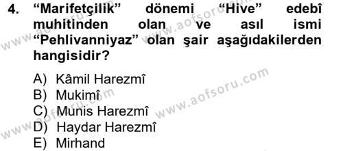 Çağdaş Türk Edebiyatları 2 Dersi 2012 - 2013 Yılı (Final) Dönem Sonu Sınav Soruları 4. Soru