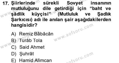 Çağdaş Türk Edebiyatları 2 Dersi Ara Sınavı Deneme Sınav Soruları 17. Soru