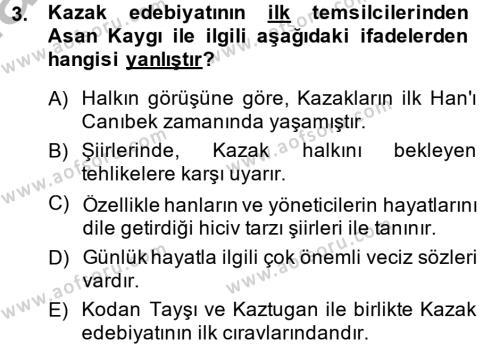 Türk Dili ve Edebiyatı Bölümü 8. Yarıyıl Çağdaş Türk Edebiyatları II Dersi 2014 Yılı Bahar Dönemi Ara Sınavı 3. Soru