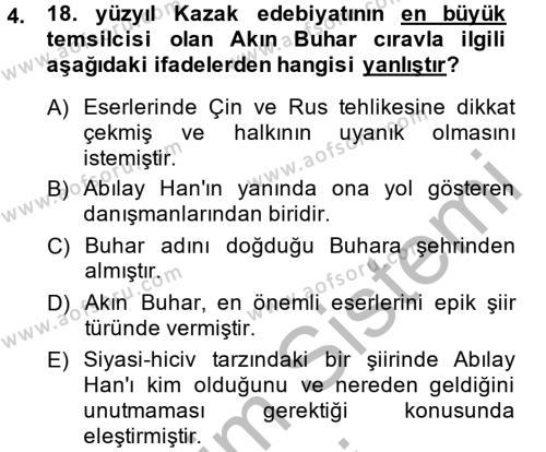 Türk Dili ve Edebiyatı Bölümü 8. Yarıyıl Çağdaş Türk Edebiyatları II Dersi 2014 Yılı Bahar Dönemi Ara Sınavı 4. Soru