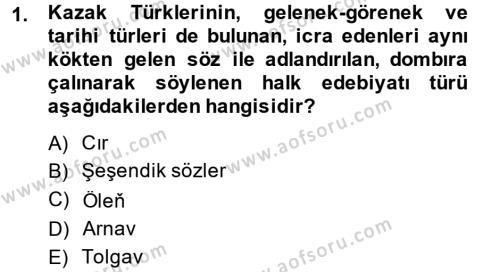 Çağdaş Türk Edebiyatları 2 Dersi 2013 - 2014 Yılı (Final) Dönem Sonu Sınav Soruları 1. Soru