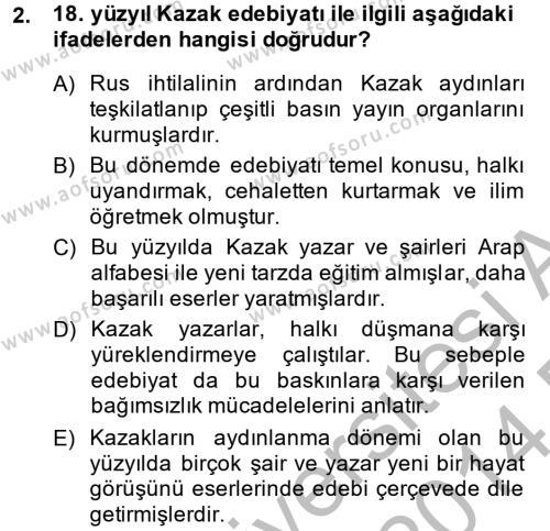 Çağdaş Türk Edebiyatları 2 Dersi 2013 - 2014 Yılı (Final) Dönem Sonu Sınav Soruları 2. Soru