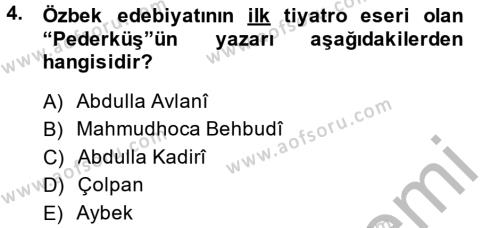 Çağdaş Türk Edebiyatları 2 Dersi 2013 - 2014 Yılı (Final) Dönem Sonu Sınav Soruları 4. Soru