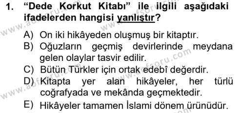 Çağdaş Türk Edebiyatları 2 Dersi 2013 - 2014 Yılı Tek Ders Sınav Soruları 1. Soru