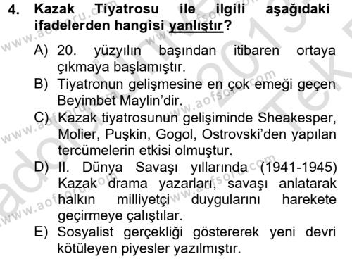 Türk Dili ve Edebiyatı Bölümü 8. Yarıyıl Çağdaş Türk Edebiyatları II Dersi 2014 Yılı Bahar Dönemi Tek Ders Sınavı 4. Soru