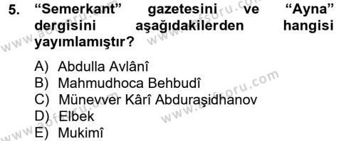 Türk Dili ve Edebiyatı Bölümü 8. Yarıyıl Çağdaş Türk Edebiyatları II Dersi 2014 Yılı Bahar Dönemi Tek Ders Sınavı 5. Soru
