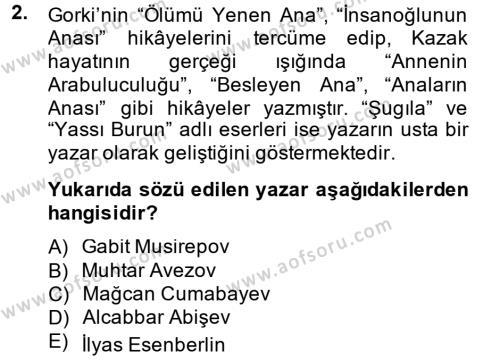 Çağdaş Türk Edebiyatları 2 Dersi 2014 - 2015 Yılı Tek Ders Sınav Soruları 2. Soru