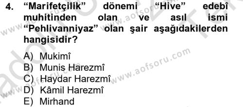 Çağdaş Türk Edebiyatları 2 Dersi 2014 - 2015 Yılı Tek Ders Sınav Soruları 4. Soru