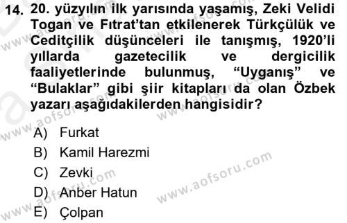 Çağdaş Türk Edebiyatları 2 Dersi Ara Sınavı Deneme Sınav Soruları 14. Soru