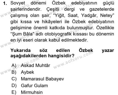 Çağdaş Türk Edebiyatları 2 Dersi 2015 - 2016 Yılı (Final) Dönem Sonu Sınav Soruları 1. Soru