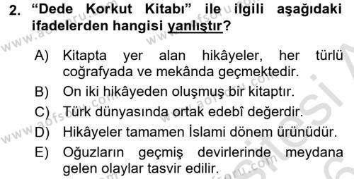 Çağdaş Türk Edebiyatları 2 Dersi 2015 - 2016 Yılı (Final) Dönem Sonu Sınav Soruları 2. Soru