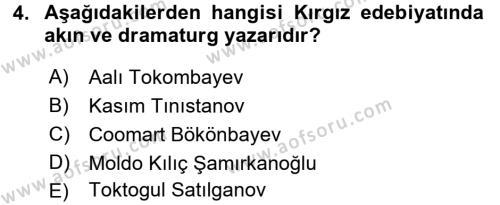 Çağdaş Türk Edebiyatları 2 Dersi 2015 - 2016 Yılı (Final) Dönem Sonu Sınav Soruları 4. Soru