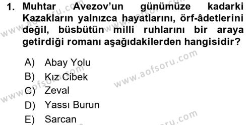 Çağdaş Türk Edebiyatları 2 Dersi 2015 - 2016 Yılı Tek Ders Sınav Soruları 1. Soru