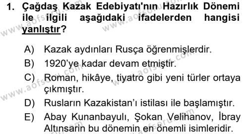 Çağdaş Türk Edebiyatları 2 Dersi 2016 - 2017 Yılı 3 Ders Sınav Soruları 1. Soru