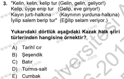 Çağdaş Türk Edebiyatları 2 Dersi 2016 - 2017 Yılı 3 Ders Sınav Soruları 3. Soru