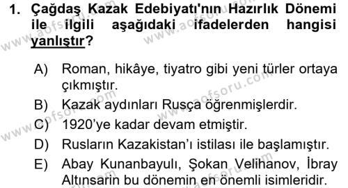 Çağdaş Türk Edebiyatları 2 Dersi 2017 - 2018 Yılı 3 Ders Sınav Soruları 1. Soru