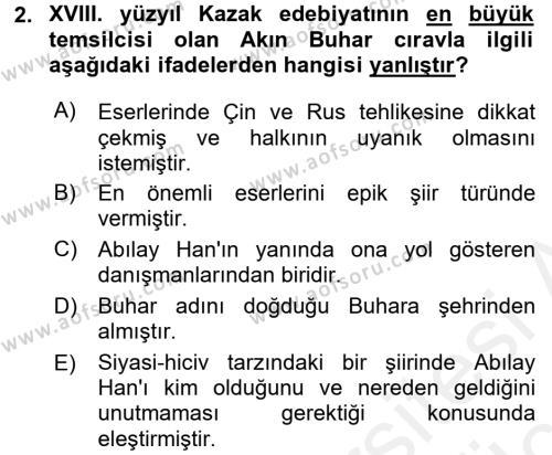 Çağdaş Türk Edebiyatları 2 Dersi 2017 - 2018 Yılı 3 Ders Sınav Soruları 2. Soru