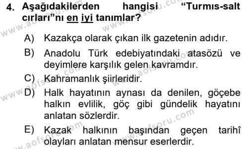 Çağdaş Türk Edebiyatları 2 Dersi 2017 - 2018 Yılı 3 Ders Sınav Soruları 4. Soru