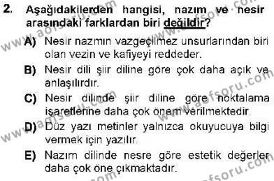 Cumhuriyet Dönemi Türk Nesri Dersi 2012 - 2013 Yılı Ara Sınavı 2. Soru