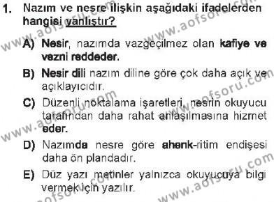 Cumhuriyet Dönemi Türk Nesri Dersi 2012 - 2013 Yılı Tek Ders Sınavı 1. Soru