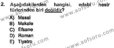 Cumhuriyet Dönemi Türk Nesri Dersi 2012 - 2013 Yılı Tek Ders Sınavı 2. Soru
