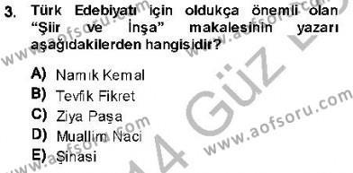 Cumhuriyet Dönemi Türk Nesri Dersi 2013 - 2014 Yılı Dönem Sonu Sınavı 3. Soru