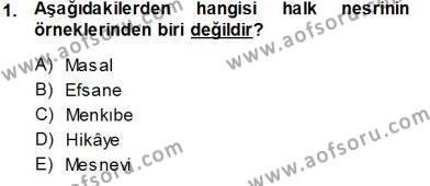 Cumhuriyet Dönemi Türk Nesri Dersi 2013 - 2014 Yılı Tek Ders Sınavı 1. Soru
