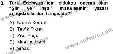 Cumhuriyet Dönemi Türk Nesri Dersi 2013 - 2014 Yılı Tek Ders Sınavı 3. Soru