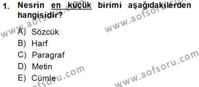 Cumhuriyet Dönemi Türk Nesri Dersi 2014 - 2015 Yılı Ara Sınavı 1. Soru