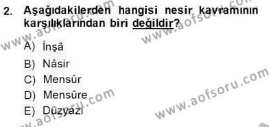 Cumhuriyet Dönemi Türk Nesri Dersi 2014 - 2015 Yılı Ara Sınavı 2. Soru