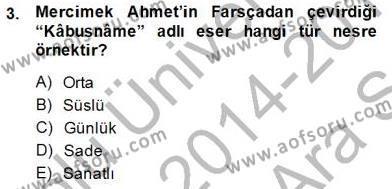 Cumhuriyet Dönemi Türk Nesri Dersi 2014 - 2015 Yılı Ara Sınavı 3. Soru