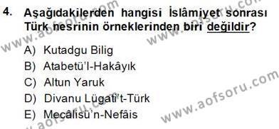 Cumhuriyet Dönemi Türk Nesri Dersi 2014 - 2015 Yılı Ara Sınavı 4. Soru