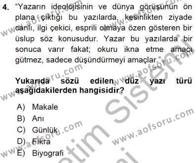 Cumhuriyet Dönemi Türk Nesri Dersi 2015 - 2016 Yılı (Final) Dönem Sonu Sınav Soruları 4. Soru