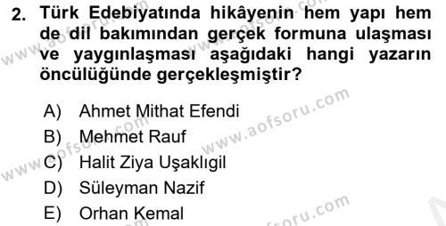 Cumhuriyet Dönemi Türk Nesri Dersi 2017 - 2018 Yılı 3 Ders Sınav Soruları 2. Soru
