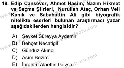 Cumhuriyet Dönemi Türk Nesri Dersi Dönem Sonu Sınavı Deneme Sınav Soruları 18. Soru