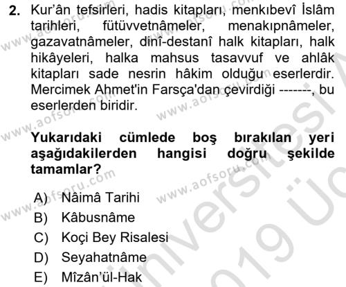 Cumhuriyet Dönemi Türk Nesri Dersi 2018 - 2019 Yılı 3 Ders Sınav Soruları 2. Soru