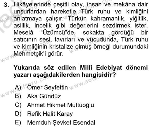 Cumhuriyet Dönemi Türk Nesri Dersi 2018 - 2019 Yılı 3 Ders Sınav Soruları 3. Soru