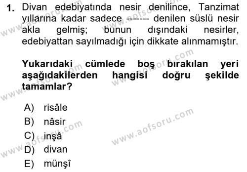 Cumhuriyet Dönemi Türk Nesri Dersi 2018 - 2019 Yılı (Vize) Ara Sınav Soruları 1. Soru