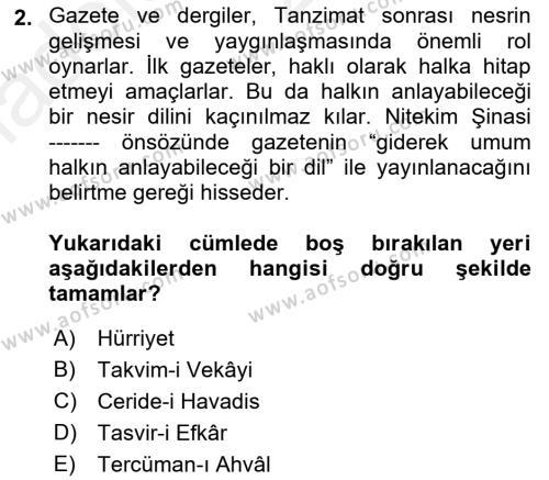 Cumhuriyet Dönemi Türk Nesri Dersi 2018 - 2019 Yılı (Vize) Ara Sınav Soruları 2. Soru
