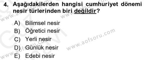 Cumhuriyet Dönemi Türk Nesri Dersi 2018 - 2019 Yılı (Vize) Ara Sınav Soruları 4. Soru
