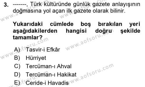 Cumhuriyet Dönemi Türk Nesri Dersi 2018 - 2019 Yılı (Final) Dönem Sonu Sınav Soruları 3. Soru