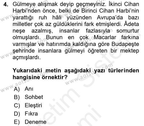 Cumhuriyet Dönemi Türk Nesri Dersi 2018 - 2019 Yılı (Final) Dönem Sonu Sınav Soruları 4. Soru