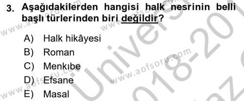 Cumhuriyet Dönemi Türk Nesri Dersi 2018 - 2019 Yılı Yaz Okulu Sınav Soruları 3. Soru