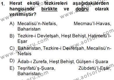Eski Türk Edebiyatının Kaynaklarından Şair Tezkireleri Dersi 2014 - 2015 Yılı (Vize) Ara Sınav Soruları 1. Soru