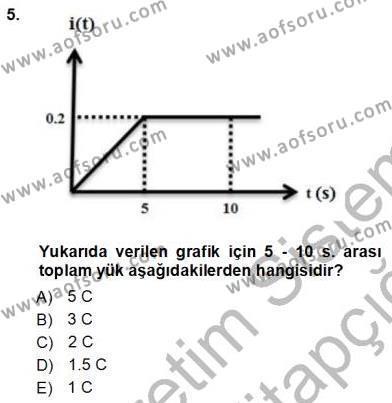Elektrik Enerjisi Üretim, İletim ve Dağıtımı Bölümü 1. Yarıyıl Devre Analizi Dersi 2013 Yılı Güz Dönemi Ara Sınavı 5. Soru