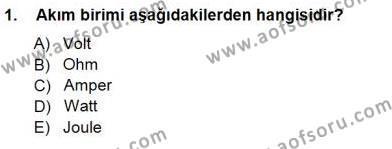 Devre Analizi Dersi 2012 - 2013 Yılı Dönem Sonu Sınavı 1. Soru